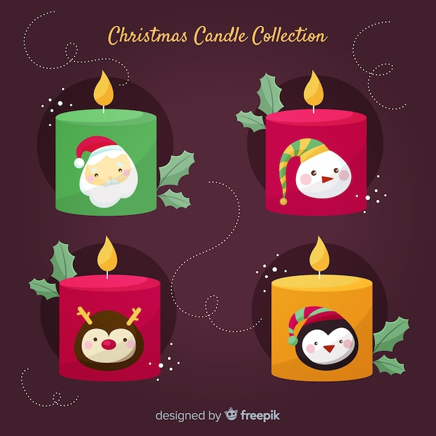 Characters christmas candles collection Free Vector