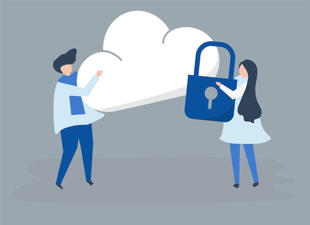 Characters of a couple and a cloud security illustration Free Vector