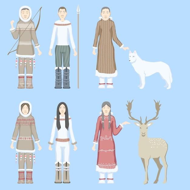 民族武器動物トナカイ白狼と民族衣装に身を包んだ文字エスキモー女性と男性 Premiumベクター