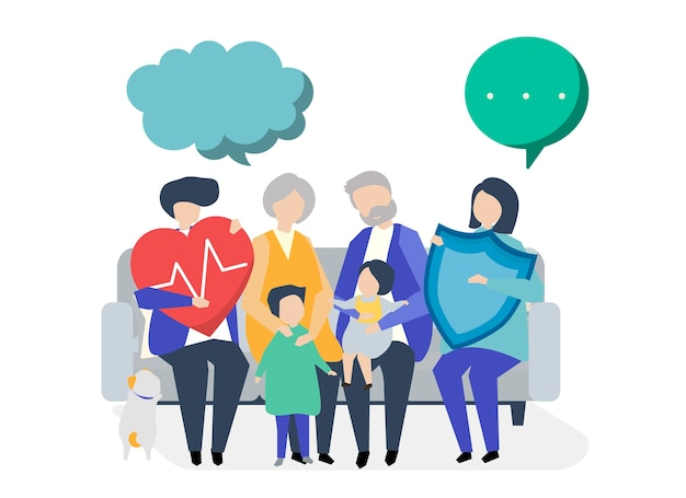 Characters of an extended family with healthcare illustration Free Vector