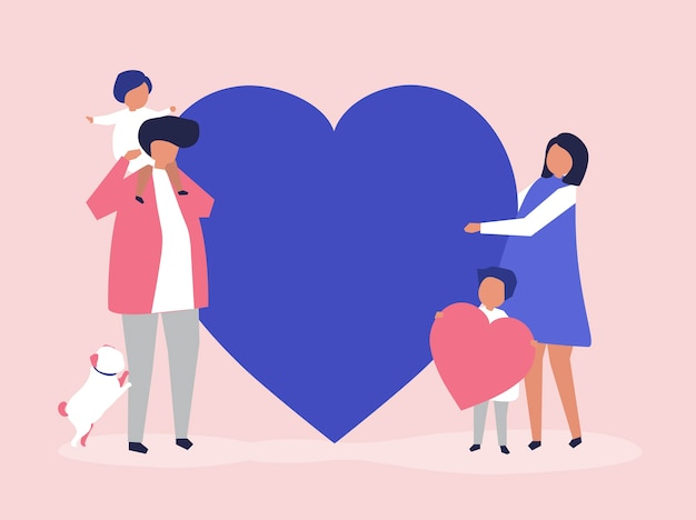 Characters of a family holding a heart shape illustration Free Vector