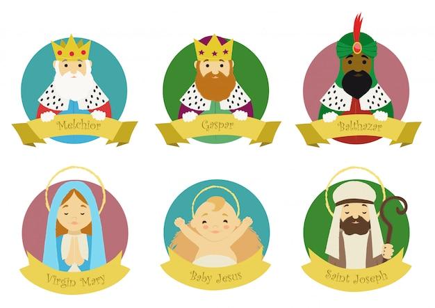 Characters from nativity scene Premium Vector