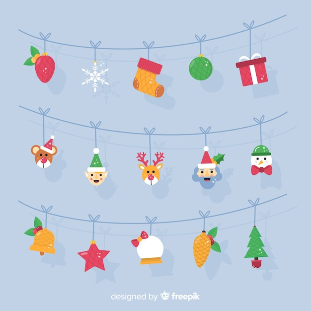Characters garland christmas background Free Vector