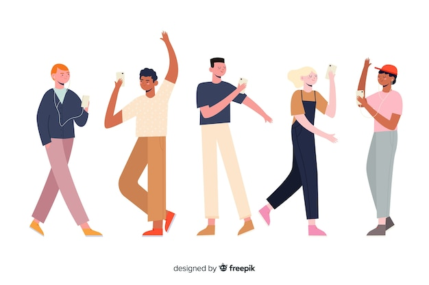 Characters group holding phone illustration Free Vector