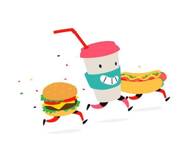 Characters hamburger Premium Vector
