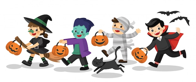 Characters of happy halloween. funny children in colorful costumes and a cat. zombie, mummy, witch, dracula. Premium Vector