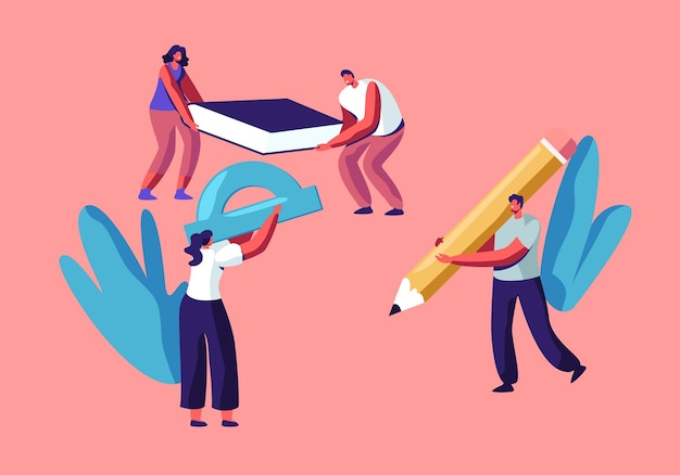 Characters hold huge stationery accessories for college or university studying, tiny students holding pencil, textbook Premium Vector