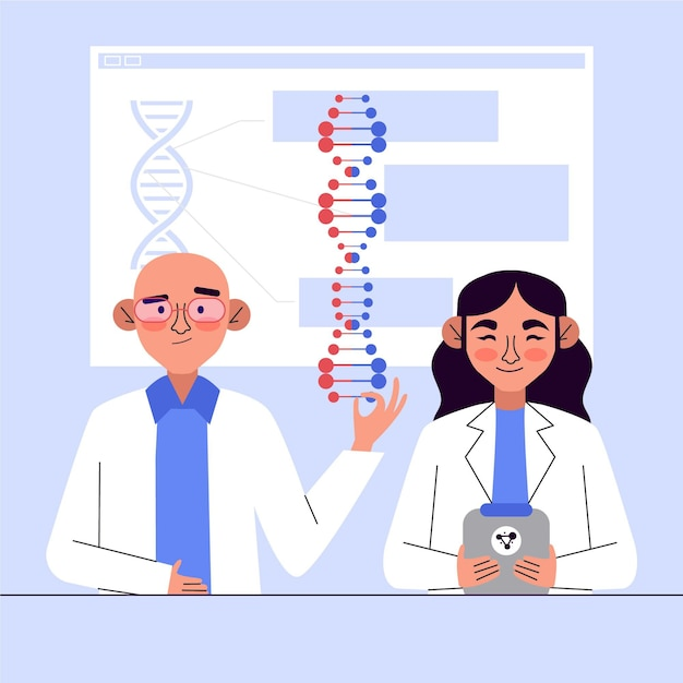 Characters holding dna molecules Free Vector