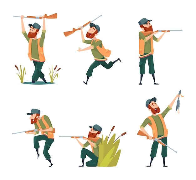 Characters of hunters isolated Premium Vector