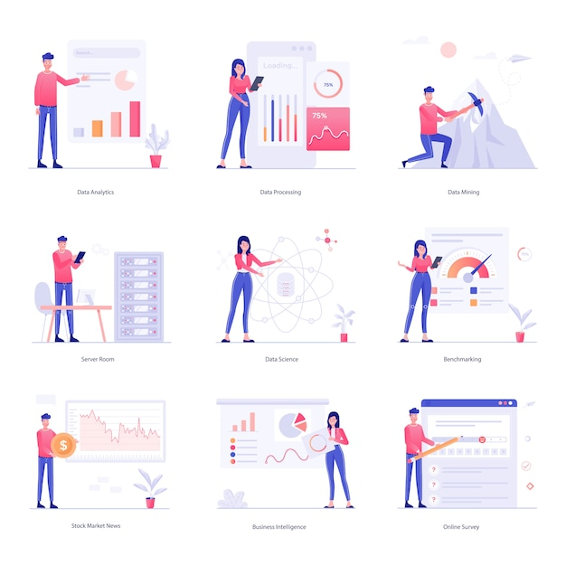 Characters illustration of data analysis Premium Vector