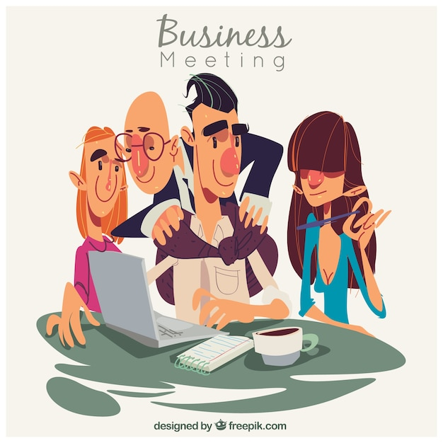 Characters in a business meeting in vintage\ style