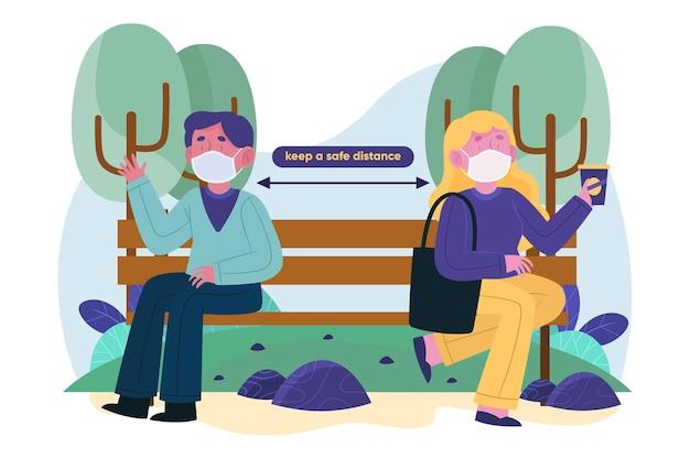 Personaggi che mantengono le distanze sociali su una panchina Vettore gratuito