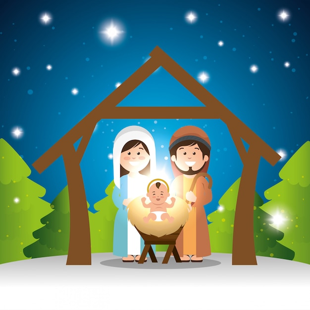 Characters manger merry christmas design Free Vector