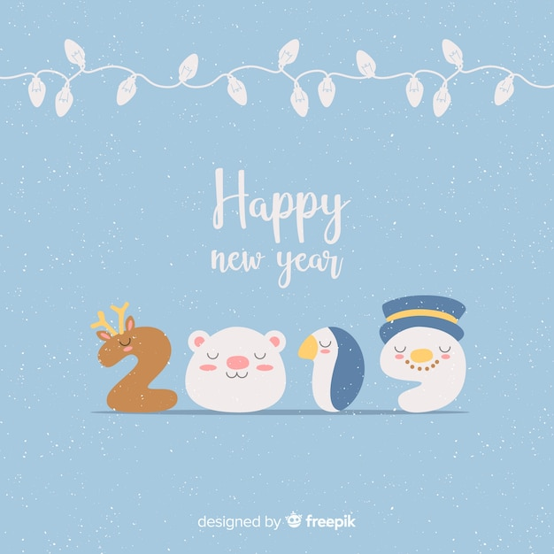 Characters number new year background Free Vector