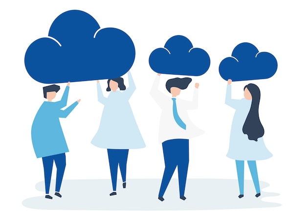 Characters of business people holding cloud\ icons