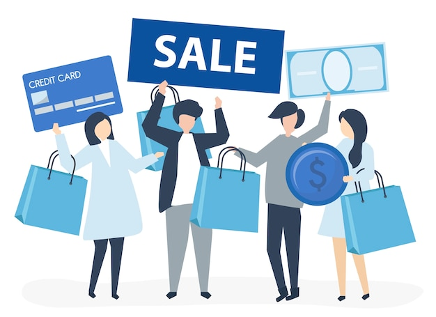 Characters of people holding shopping icons illustration Free Vector