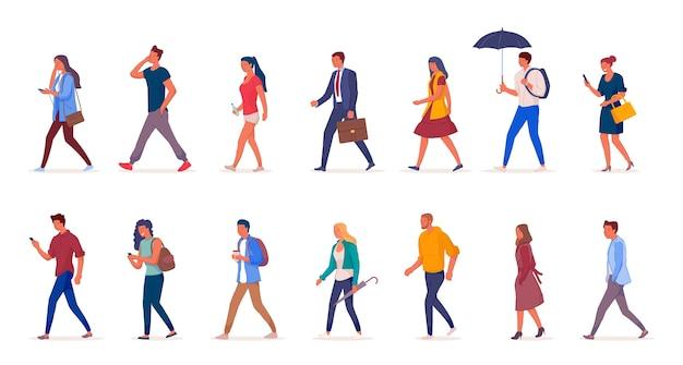 Персонажи людей, идущих по улице Premium векторы