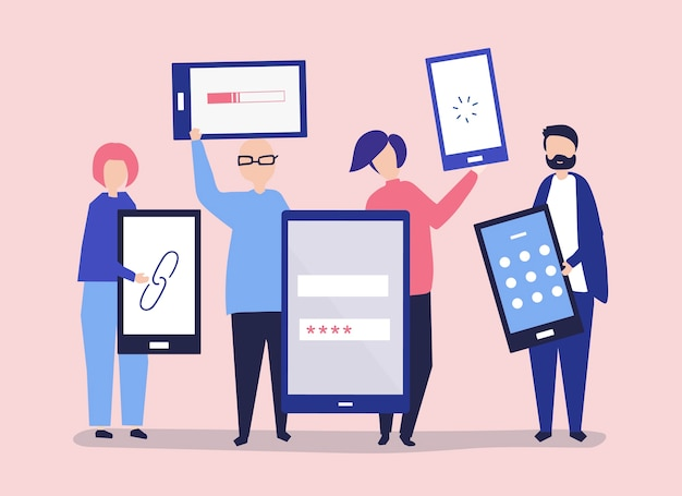 Characters of people holding giant digital devices Free Vector