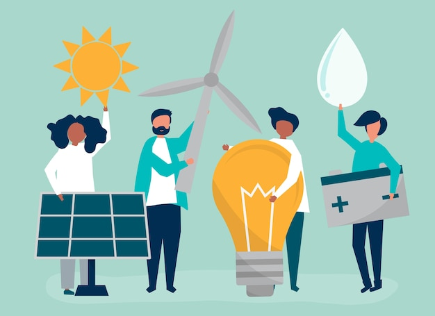 Characters of people holding green energy icons Free Vector