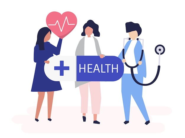 Characters of people holding healthcare icons illustration Free Vector