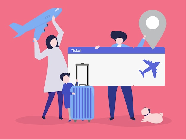 Characters of people holding travel icons illustration Free Vector