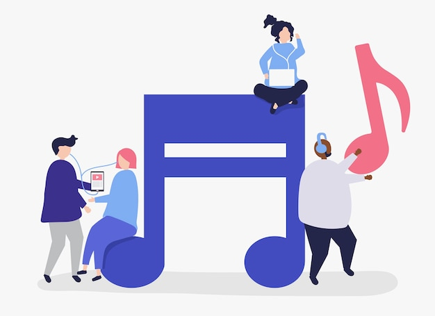 Free Vector | Characters of people listening to music illustration