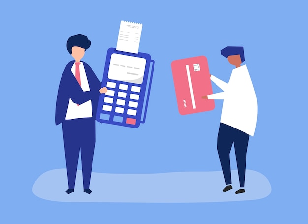 Characters of people making a credit card transaction Free Vector
