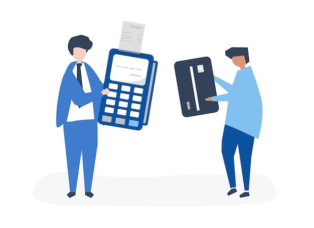 Personaggi di persone che effettuano una transazione con carta di credito Vettore gratuito
