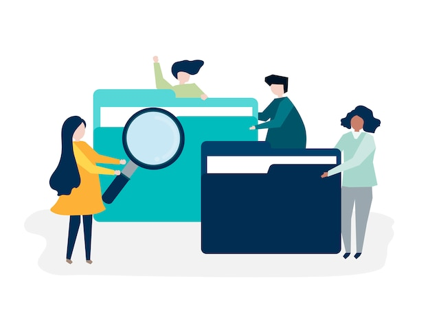 Characters of people searching through files Free Vector