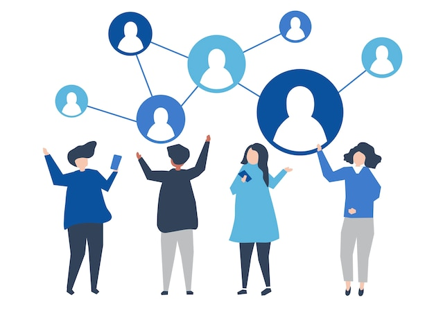Characters of people and their social network illustration Free Vector