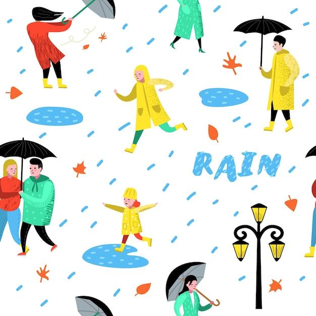 雨の中を歩くキャラクターシームレスパターン Premiumベクター