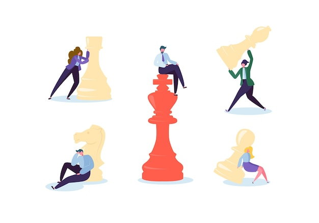Characters playing chess. business planning and strategy concept. businessman and businesswoman with chess pieces. competition and leadership. Premium Vector