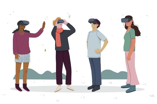 Персонажи, играющие в игры в гарнитуре виртуальной реальности Бесплатные векторы