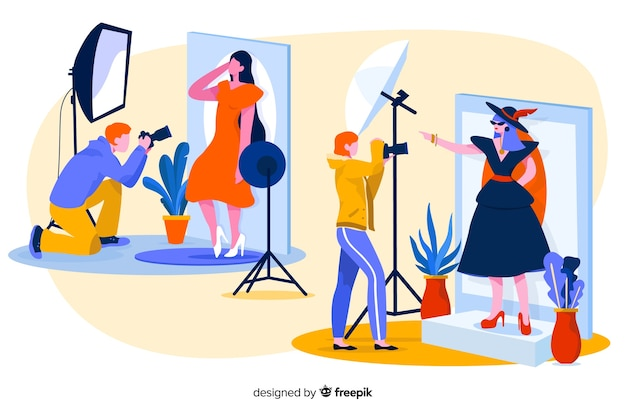 Characters posing for the camera Free Vector