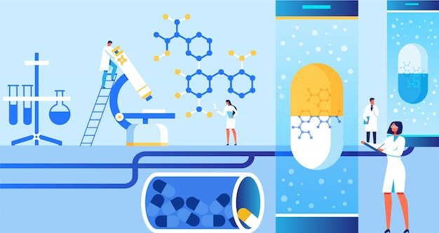 Characters do scientific research at laboratory. Premium Vector