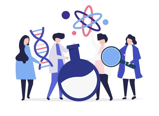 Characters of scientists holding chemistry icons Free Vector