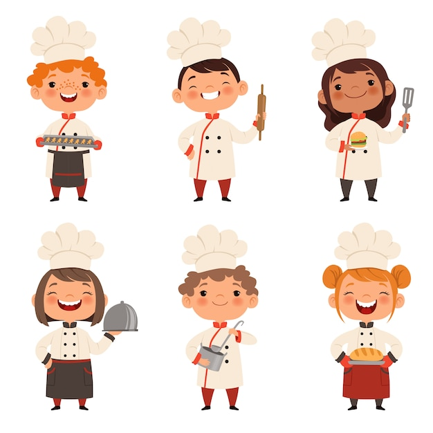 Characters set of children cooks Premium Vector