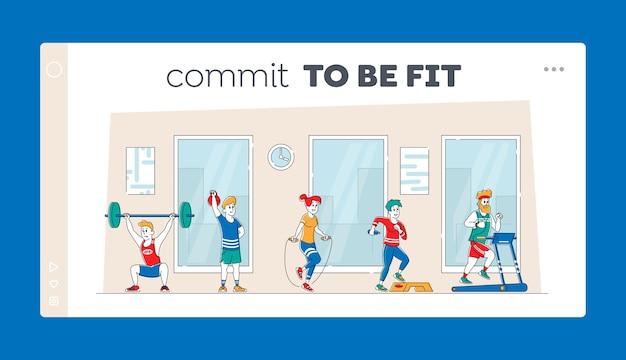 체육관 방문 페이지 템플릿에서 전문 장비로 훈련하는 캐릭터. 프리미엄 벡터