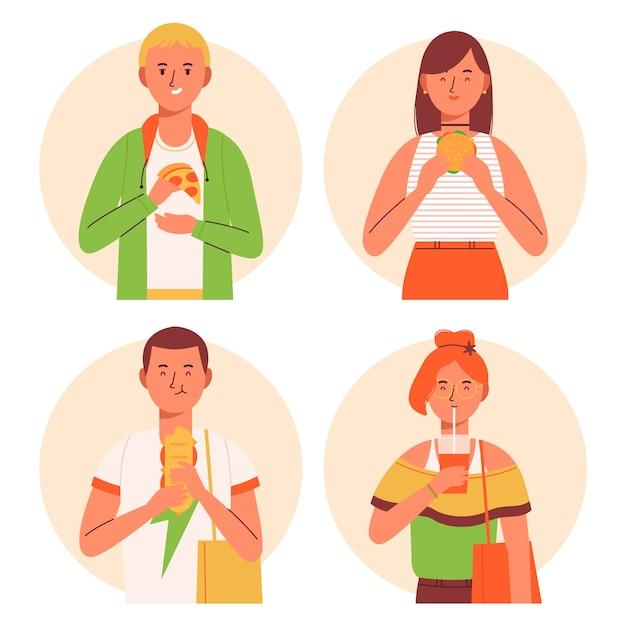 Персонажи с едой Бесплатные векторы