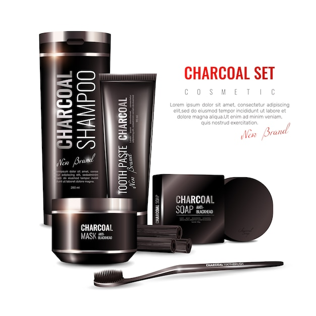 Charcoal cosmetics 3d illustration Free Vector
