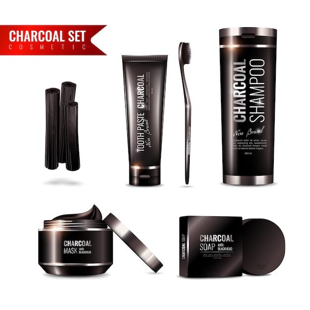 Charcoal cosmetics set Free Vector