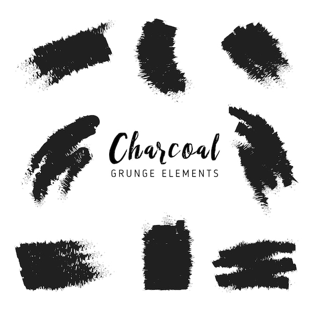 Charcoal grunge elements Free Vector
