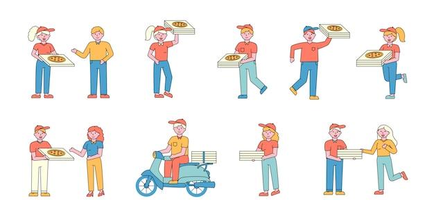 Служба доставки пиццы набор плоских charers. люди заказывают итальянские закуски. Premium векторы