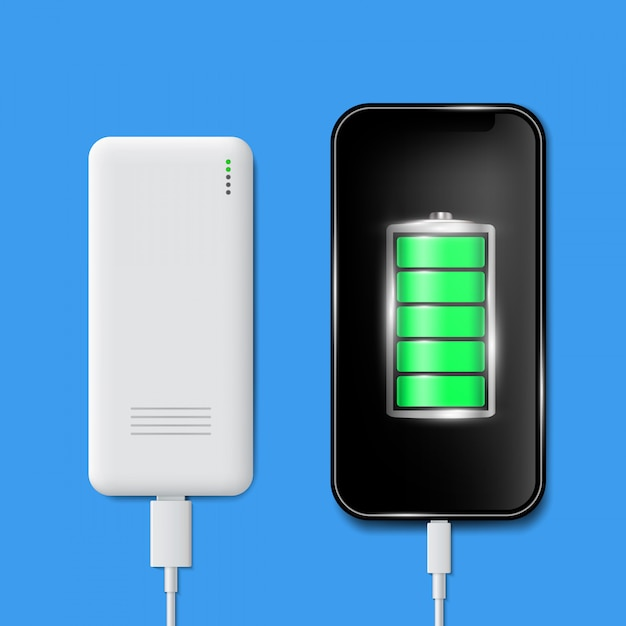 Charged battery phone, cellphone usb plugs cable. Premium Vector
