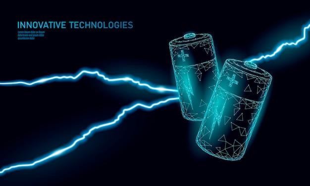 充電済みの多角形アルカリ電池。エネルギー動力工事。危険な脅威の状況。 Premiumベクター