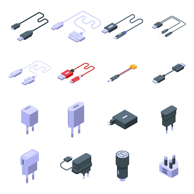 Набор иконок зарядного устройства. изометрические набор векторных иконок зарядного устройства для веб-дизайна, изолированных на белом пространстве Premium векторы