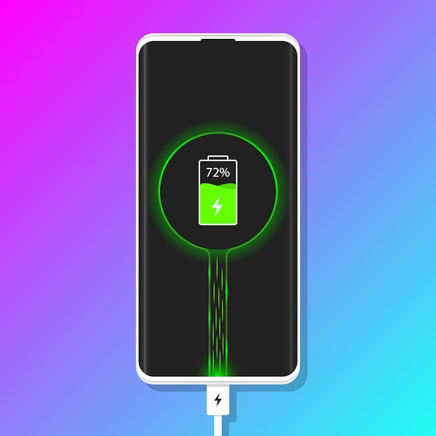 Charging phone. plugged phone vector illustration Premium Vector