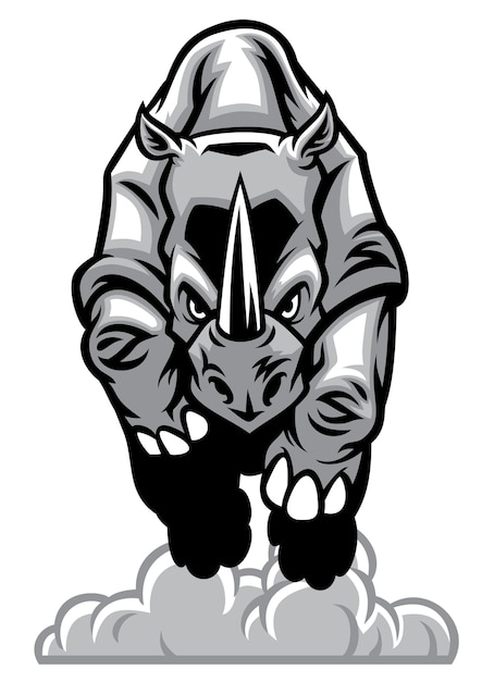 Charging rhino Premium Vector