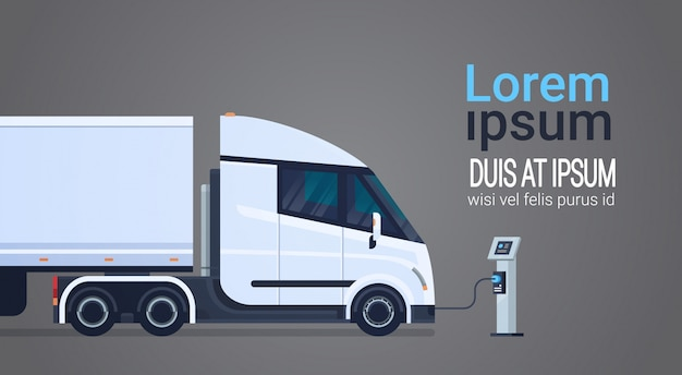 Charging semi truck with trailer at electic charger station banner with place for text Premium Vector