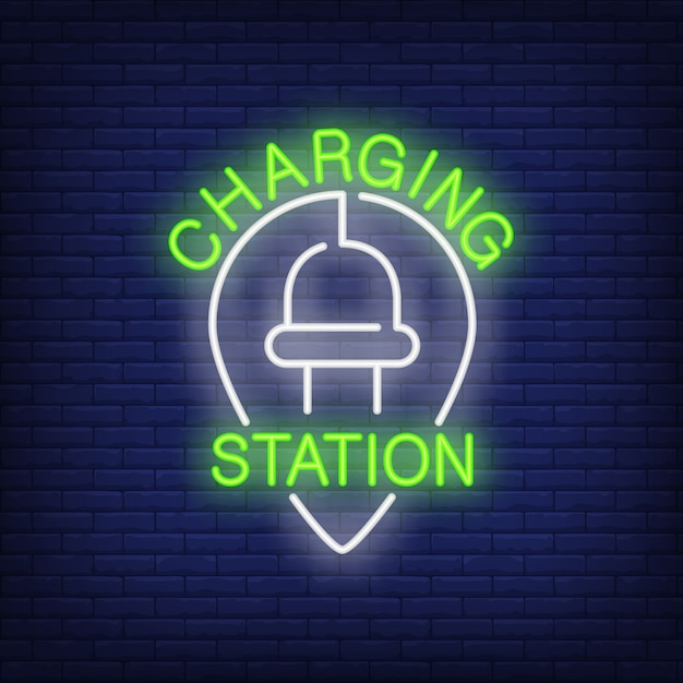 Charging station neon sign. electrical plug with cord in shape of upside down drop Free Vector